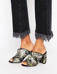 Read more about Miss selfridge embellished heeled mule - metallic