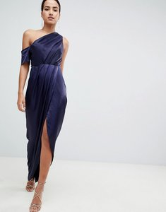 Read more about Asos hammered satin one shoulder maxi dress - navy