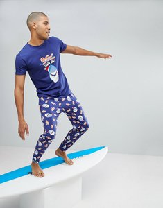 Read more about Off-duty christmas santa jaws pyjama set - navy