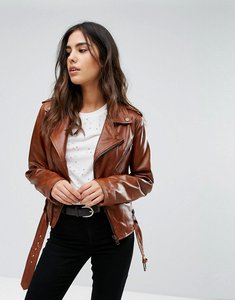 Read more about Barney s originals belted leather jacket - tan