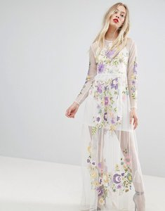 Read more about Asos premium embroidered mesh maxi dress - optic white