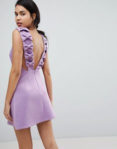 Read more about Asos bow strap back a line mini dress - lilac