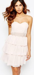Read more about Elise ryan sweetheart bandeau frill dress with lace trim - nude