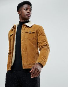 Read more about Stradivarius borg lined trucker jacket in tan - tan