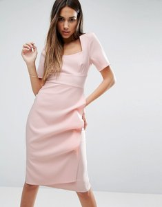 Read more about Asos pencil dress with origami folded skirt - blush