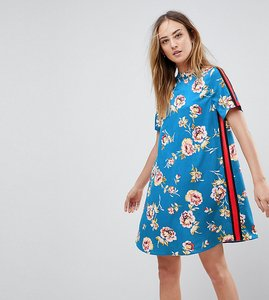 Read more about Influence tall track stripe high neck floral swing dress - blue