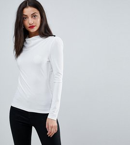 Read more about Asos tall high drape neck top with button detail - white