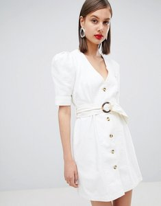 Read more about Asos design denim belted dress in white - white