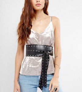 Read more about Glamorous eyelet soft obi wrap belt - black