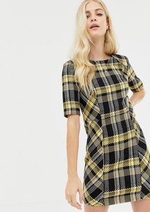 Read more about Asos design shoulder pad mini dress in check boucle
