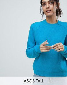 Read more about Asos tall jumper in fluffy yarn with crew neck - cobalt