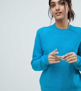 Read more about Asos design tall jumper in fluffy yarn with crew neck - cobalt