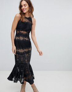 Read more about Bronx banco lace and mesh panel dress - black