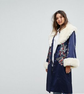 Read more about Dolly delicious premium embroidered longline kimono jacket with faux fur trim - navy