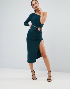Read more about Asos one shoulder ring detail midi bodycon dress - green