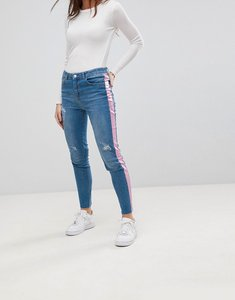 Read more about Chorus pink foil side stripe skinny jeans - blue with pink