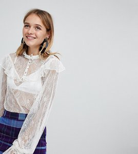 Read more about Monki lace button up blouse - cream