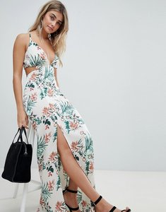 Read more about Missguided tropical print side split maxi dress - multi