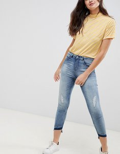 Read more about Jdy high call distressed skinny jeans - medium blue denim