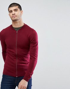 Read more about Asos knitted muscle fit bomber jacket in burgundy - burgundy
