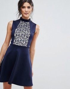 Read more about Club l skater dress with lace panel - navy