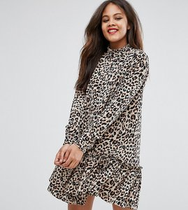 Read more about Asos tall mini smock dress with pep hem in animal print - multi