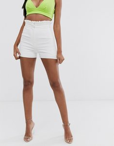 Read more about Club l london high waist paperbag waist short in white