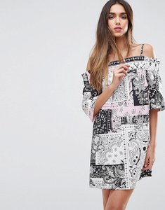 Read more about Asos cotton off shoulder dress in bandana print - multi