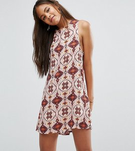 Read more about Glamorous tall sleeveless shift dress pink tile print - multi
