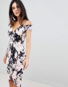 Read more about Ax paris smudge print wrap pencil dress with cold shoulder - black pink