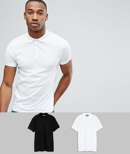 Read more about Asos design muscle fit jersey polo 2 pack save - black white