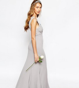 Read more about Fame and partners everland maxi dress with fishtail - cinder grey