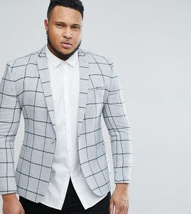 Read more about Asos plus super skinny blazer in grey wool mix with green windowpane check - grey