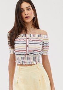 Read more about Warehouse off the shoulder top with button detail in stripe