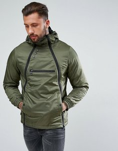 Read more about Luke 1977 turvey asymmetric zip front hooded jacket in khaki - khaki