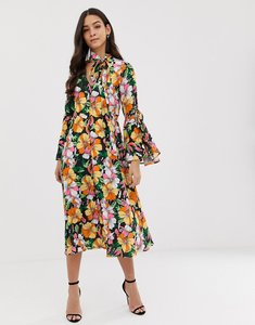 Read more about Forever unique floral midi dress with fluted sleeves
