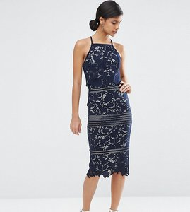 Read more about Asos tall lace floral scallop midi dress - navy