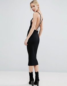 Read more about Asos midi dress in rib with cross back - black