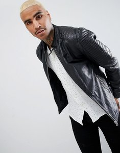 Read more about Goosecraft trenton perforated leather biker jacket in black - black