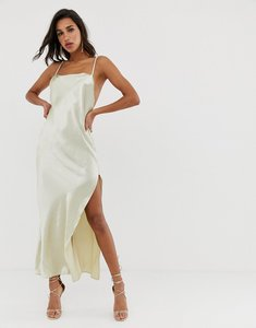 Read more about Asos design maxi dress in high shine satin with strappy back detail
