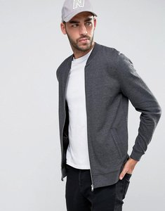 Read more about Asos jersey bomber jacket in charcoal - charcoal marl