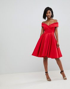 Read more about Club l modern bardot scuba skater dress - red