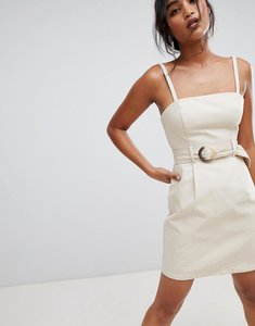 Read more about Asos design denim belted mini dress in stone - stone