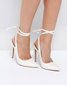 Read more about Asos pipe down bridal pointed high heels - ivory