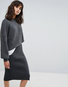 Read more about Weekday waffle knit jumper - dark grey