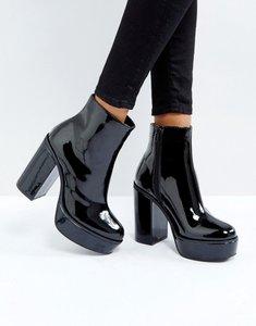 Read more about London rebel patent platform boots - black patent