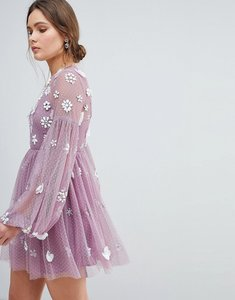 Read more about Asos floral cluster embellished balloon sleeve mini dress - dusty mauve