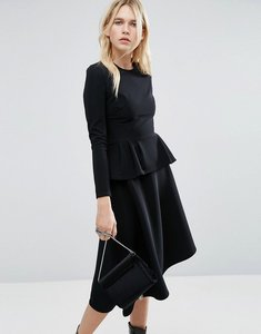 Read more about Asos skater midi dress with peplum in structured rib - black