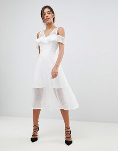 Read more about Morgan frilly cold shoulder full prom midi dress - white