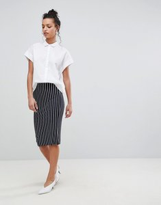 Read more about Asos design jersey pencil skirt in pinstripe - navy white
